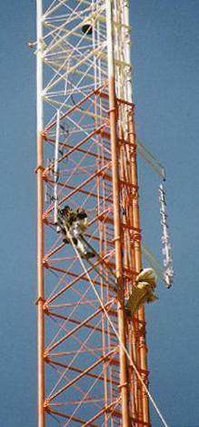Tower with repeater antennas on it